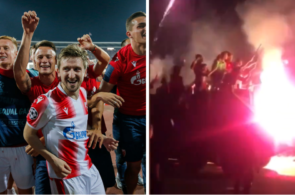 Røde Stjerne ejring Champions League Tank Fyrværkeri