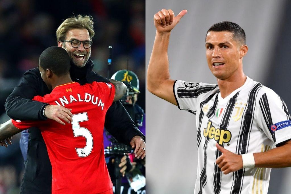 Jürgen Klopp og Georginio Wijnaldum, Liverpool, og Cristiano Ronaldo, Juventus