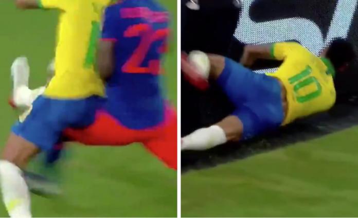 Neymar bliver tacklet af Davinson Sánchez