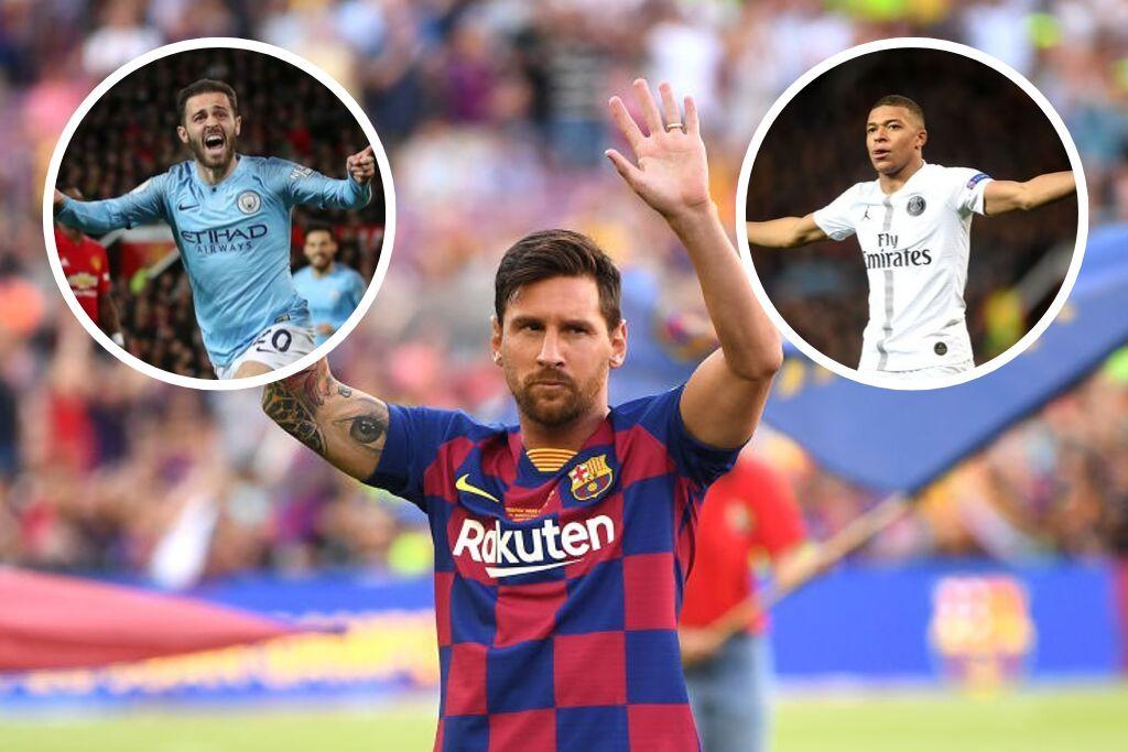 Lionel Messi, Bernardo Silva og Kylian Mbappé