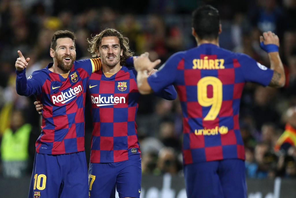 Lionel Messi, Antoine Griezmann og Luis Suaréz, FC Barcelona