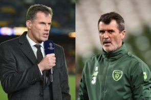 Jamie Carragher og Roy Keane