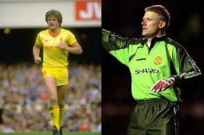 Jan Mølby, Liverpool, og Peter Schmeichel, Manchester United