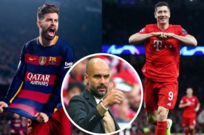 Guardiola, Piqué, Lewandowski