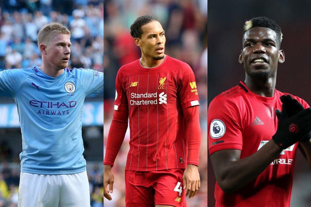 Kevin De Bruyne, Manchester City, Virgil van Dijk, Liverpool, og Paul Pogba, Manchester United