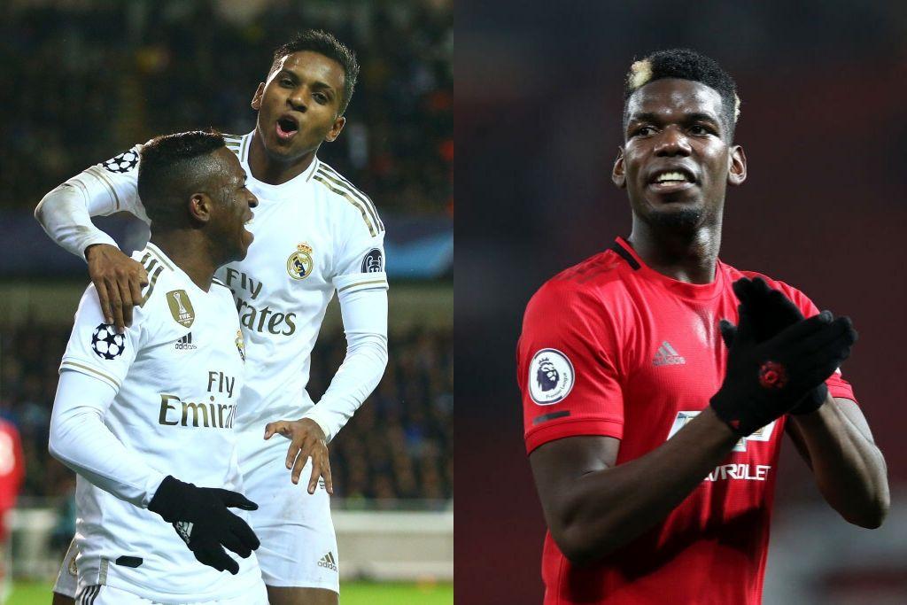 Rodrygo og Vinicius fra Real Madrid og Paul Pogba fra Manchester United