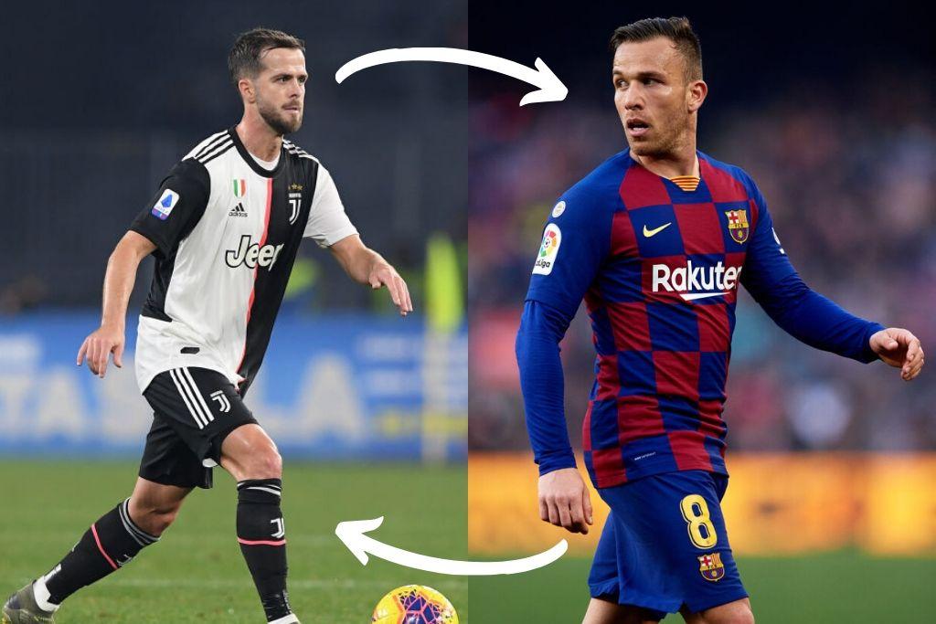 Arthur, FC Barcelona, og Miralem Pjanic, Juventus