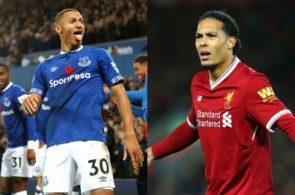 Richarlison, Everton, og Virgil van Dijk, Liverpool