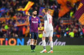 Luis Suárez, FC Barcelona, og Jordan Henderson, Liverpool