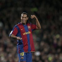 BARCELONA, SPAIN - DECEMBER 23:  Ronaldinho of Barcelona reacts during the La Liga match between Barcelona and Real Madrid at the Camp Nou Stadium on December 23, 2007 in Barcelona, Spain. Barcelona lost 'El Clasico'  1-0.  (Photo by Jasper Juinen/Getty Images)