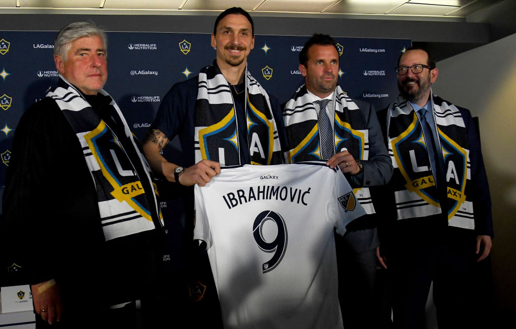 Zlatan Ibrahimovic #9 of the Los Angeles