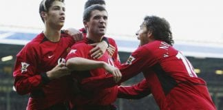 Roy Keane celebrates the winning goal