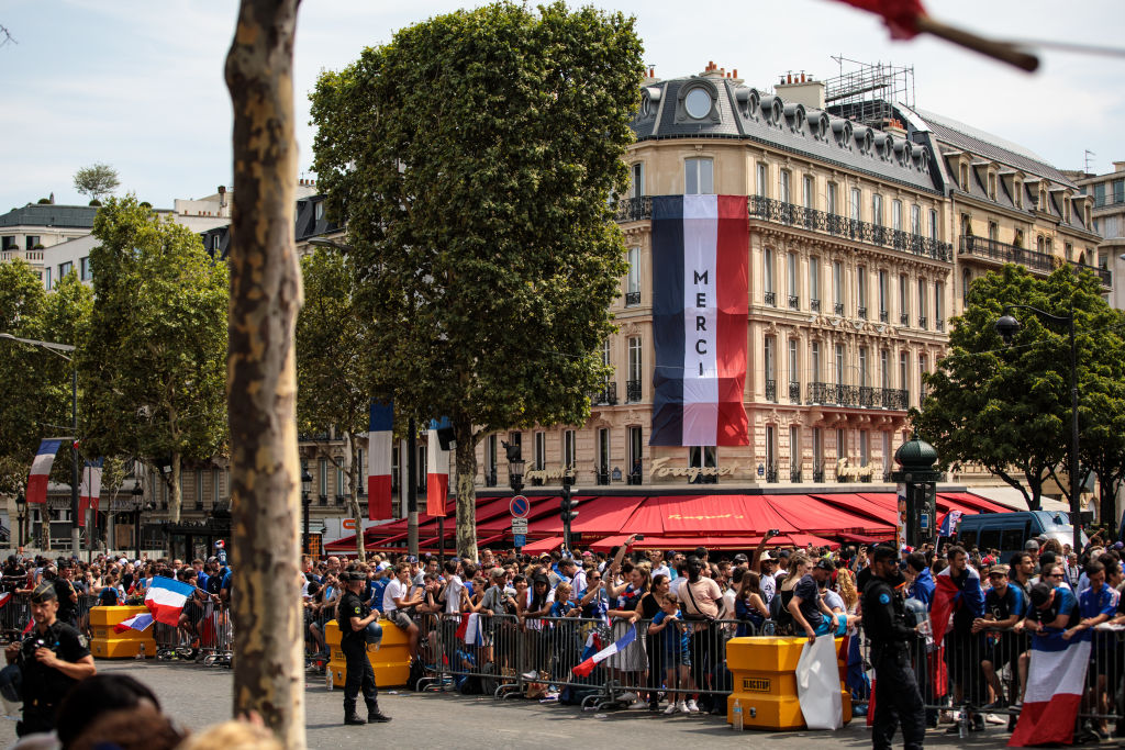 France's World Cup Winning Team Parade Down The Champs Elysee