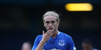 BURY, ENGLAND - JULY 18: Tom Davies of Everton the Pre-Season Friendly at Gigg Lane on July 18, 2018 in Bury, England. (Photo by Lynne Cameron/Getty Images)