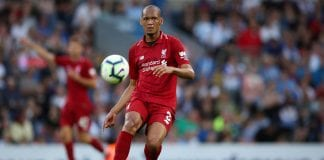 BLACKBURN, ENGLAND - JULY 19: Fabinho of Liverpool during the Pre-Season Friendly between Blackburn Rovers and Liverpool at Ewood Park on July 19, 2018 in Blackburn, England. (Photo by Lynne Cameron/Getty Images)