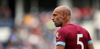 PRESTON, ENGLAND - JULY 21: Pablo Zabaletta of West Ham United during the Pre-Season Friendly between Preston North End and West Ham United at Deepdale on July 21, 2018 in Preston, England. (Photo b Lynne Cameron/Getty Images)