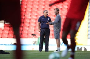 BLACKBURN, ENGLAND - JULY 19: Tony Mowbray manager of Blackburn Rovers and Jurgen Klopp manager of Liverpool during the Pre-Season Friendly between Blackburn Rovers and Liverpool at Ewood Park on July 19, 2018 in Blackburn, England. (Photo by Lynne Cameron/Getty Images)