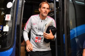 SINGAPORE - JULY 28: Thomas Tuchel Manager of Paris Saint German looks during the International Champions Cup match between Arsenal and Paris Saint Germain at the National Stadium on July 28, 2018 in Singapore. (Photo by Thananuwat Srirasant/Getty Images for ICC)