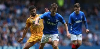 GLASGOW, SCOTLAND - JULY 29: Sam Morsy of Wigan Athletic vies with Andrew Halliday of Rangers during the Pre-Season Friendly match between Rangers and Wigan Athletic at Ibrox Stadium on July 29, 2018 in Glasgow, Scotland. (Photo by Ian MacNicol/Getty Images)
