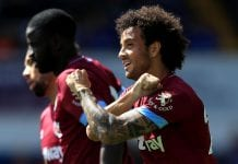 IPSWICH, ENGLAND - JULY 28: Felipe Anderson of West Ham United celebrates scoring the opening goal of the match during the pre-season friendly match between Ipswich Town and West Ham United at Portman Road on July 28, 2018 in Ipswich, England. (Photo by Stephen Pond/Getty Images)