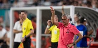MIAMI, FL - JULY 31: Manager Jose Mourinho of Manchester United gestures during the International Champions Cup match against Real Madrid at Hard Rock Stadium on July 31, 2018 in Miami, Florida. (Photo by Rob Foldy/Getty Images)