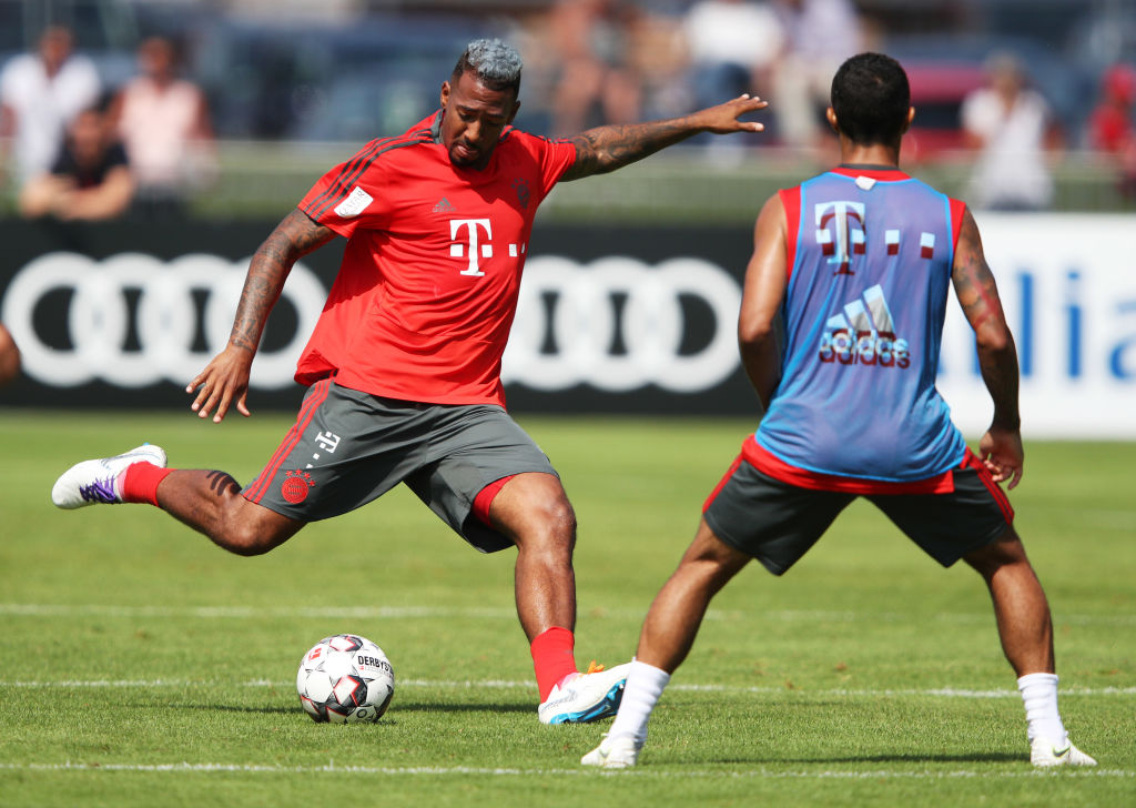 ROTTACH-EGERN, GERMANY - AUGUST 03: Jerome Boateng of FC Bayern Munich in action during the FC Bayern Munich Training Camp on August 3, 2018 in Rottach-Egern, Germany. (Photo by Adam Pretty/Bongarts/Getty Images)