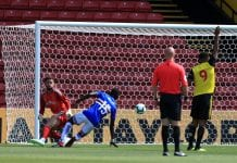 WATFORD, ENGLAND - AUGUST 04: Omar Colley of Sampdoria scores past Ben Foster of Watford during the pre-season friendly match between Watford and Sampdoria at Vicarage Road on August 4, 2018 in Watford, England. (Photo by Stephen Pond/Getty Images)