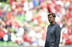 DUBLIN, IRELAND - AUGUST 04: Liverpool manager Jurgen Klopp during the international friendly game between Liverpool and Napoli at Aviva Stadium on August 4, 2018 in Dublin, Ireland. (Photo by Charles McQuillan/Getty Images)