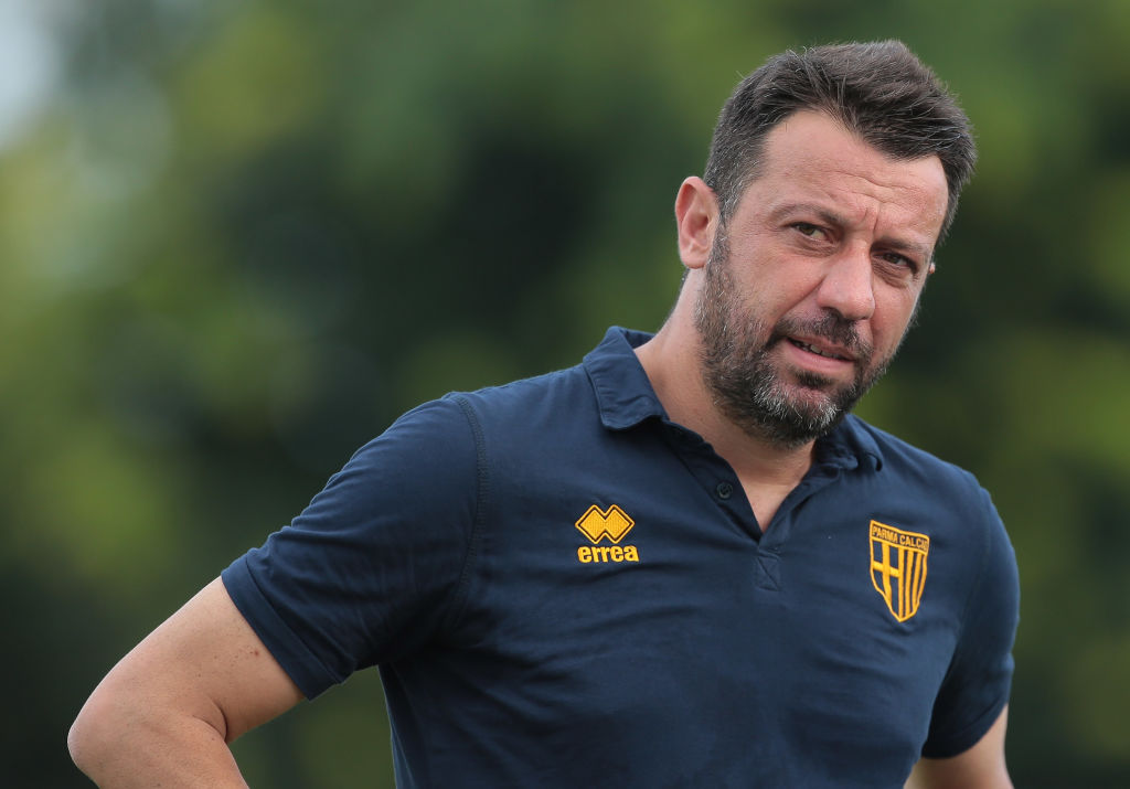 CARATE BRIANZA, ITALY - AUGUST 04: Parma Calcio coach Roberto D'Aversa looks on before the Sportitalia Cup 2018 tournament match between Parma Calcio and US Sassuolo on August 4, 2018 in Carate Brianza, Italy. (Photo by Emilio Andreoli/Getty Images)