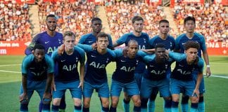 GIRONA, SPAIN - AUGUST 04: Tottenham Hotspur team line up prior the pre-season friendly match between Girona and Tottenham Hotspur at Municipal de Montilivi Stadium on August 4, 2018 in Girona, Spain. (Photo by Quality Sport Images/Getty Images)