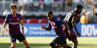 SANTA CLARA, CA - AUGUST 04: Malcom Silva #26 of FC Barcelona takes the ball away from Franck Kessié #79 of AC Milan during the International Champions Cup match at Levi's Stadium on August 4, 2018 in Santa Clara, California. (Photo by Lachlan Cunningham/Getty Images)