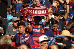SANTA CLARA, CA - AUGUST 04: FC Barcelona fans show their support during the International Champions Cup match against AC Milan at Levi's Stadium on August 4, 2018 in Santa Clara, California. (Photo by Lachlan Cunningham/Getty Images)