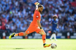 LONDON, ENGLAND - AUGUST 05: Claudio Bravo of Manchester City sends the ball forward during the FA Community Shield between Manchester City and Chelsea at Wembley Stadium on August 5, 2018 in London, England. (Photo by Michael Regan/Getty Images)