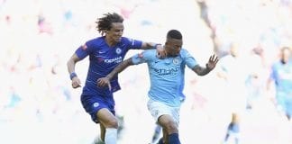 during the FA Community Shield match between Manchester City and Chelsea at Wembley Stadium on August 5, 2018 in London, England.