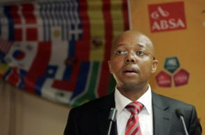 JOHANNESBURG, SOUTH AFRICA - JUNE 01: Leslie Sedibe, CEO of SAFA, speaks during the South Africa final 23-man squad announcement at Primedia Place on June 01, 2010 in Johannesburg, South Africa. (Photo by Dominc Barnardt/Gallo Images/Getty Images)