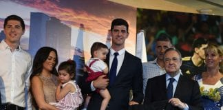 MADRID, SPAIN - AUGUST 09: Thibaut Courtois of Real Madrid is accompanied by his children, ex-partner and parents during the presentation by Real Madrid president Florentino Perez to members of the press after he signied a six-year-deal with Real Madrid at Estadio Santiago Bernabeu on August 9, 2018 in Madrid, Spain. (Photo by Denis Doyle/Getty Images)