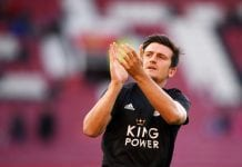 MANCHESTER, ENGLAND - AUGUST 10: Harry Maguire of Leicester City acknowledges the fans prior to the Premier League match between Manchester United and Leicester City at Old Trafford on August 10, 2018 in Manchester, United Kingdom. (Photo by Laurence Griffiths/Getty Images)