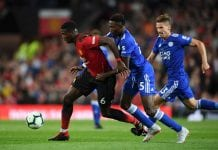 MANCHESTER, ENGLAND - AUGUST 10: Paul Pogba of Manchester United battles for possession with Onyinye Wilfred Ndidi of Leicester City during the Premier League match between Manchester United and Leicester City at Old Trafford on August 10, 2018 in Manchester, United Kingdom. (Photo by Michael Regan/Getty Images)