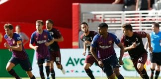 SANTA CLARA, CA - AUGUST 04: Marlon Santos #5 of FC Barcelona competes for the ball during the International Champions Cup match against AC Milan at Levi's Stadium on August 4, 2018 in Santa Clara, California. (Photo by Lachlan Cunningham/Getty Images)