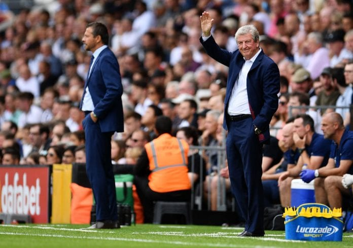 LONDON, ENGLAND - AUGUST 11: Roy Hodgson, Manager of Crystal Palace waves to the home fans during the Premier League match between Fulham FC and Crystal Palace at Craven Cottage on August 11, 2018 in London, United Kingdom. (Photo by Justin Setterfield/Getty Images)