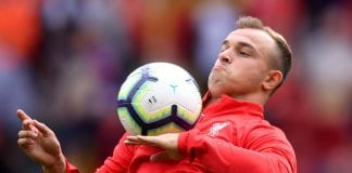 LIVERPOOL, ENGLAND - AUGUST 12: Xherdan Shaqiri of Liverpool warms up prior to the Premier League match between Liverpool FC and West Ham United at Anfield on August 12, 2018 in Liverpool, United Kingdom. (Photo by Laurence Griffiths/Getty Images)