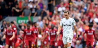 LIVERPOOL, ENGLAND - AUGUST 12: Mark Noble of West Ham United looks dejected following Liverpool's second goal during the Premier League match between Liverpool FC and West Ham United at Anfield on August 12, 2018 in Liverpool, United Kingdom. (Photo by Laurence Griffiths/Getty Images)