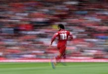 LIVERPOOL, ENGLAND - AUGUST 12: Mohamed Salah of Liverpool in action during the Premier League match between Liverpool FC and West Ham United at Anfield on August 12, 2018 in Liverpool, United Kingdom. (Photo by Laurence Griffiths/Getty Images)
