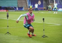 TALLINN, ESTONIA - AUGUST 14: Antoine Griezmann of Atletico Madrid at a spint test during a training session ahead of the UEFA Super Cup match against Real Madrid CF at Lillekuela Stadium on August 14, 2018 in Tallinn, Estonia. (Photo by Alexander Hassenstein/Getty Images)