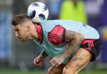 TALLINN, ESTONIA - AUGUST 14: Sergio Ramos of Real Madrid CF plays with the ball during a training session ahead of the UEFA Super Cup match against Atletico Madrid at Lillekuela Stadium on August 14, 2018 in Tallinn, Estonia. (Photo by Alexander Hassenstein/Getty Images)