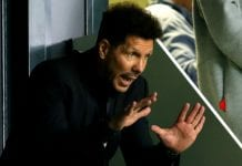 TALLINN, ESTONIA - AUGUST 15: Diego Simeone, Manager of Atletico Madrid gives instuctions during the UEFA Super Cup between Real Madrid and Atletico Madrid at Lillekula Stadium on August 15, 2018 in Tallinn, Estonia. (Photo by Alexander Hassenstein/Getty Images)