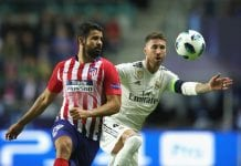TALLINN, ESTONIA - AUGUST 15: Sergio Ramos of Real battels for the ball with Diego Costa (L) of Atletico during the UEFA Super Cup between Real Madrid and Atletico Madrid at Lillekula Stadium on August 15, 2018 in Tallinn, Estonia. (Photo by Alexander Hassenstein/Getty Images)