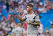 MADRID, SPAIN - AUGUST 11: Sergio Ramos of Real Madrid CF warms up before the Santiago Bernabeu Trophy between Real Madrid CF and AC Milan at Estadio Santiago Bernabeu on August 11, 2018 in Madrid, Spain. (Photo by Gonzalo Arroyo Moreno/Getty Images)