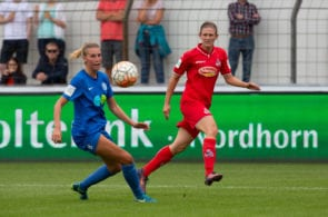 MEPPEN, GERMANY - AUGUST 18: Lisa Marie Weiss of Meppen (L) tackles Carolin Schraa of Cologne during the Second Frauen-Bundesliga match between SV Meppen and 1. FC Koeln on August 18, 2018 in Meppen, Germany. (Photo by Juergen Schwarz/Bongarts/Getty Images)
