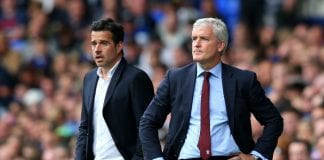 LIVERPOOL, ENGLAND - AUGUST 18: Marco Silva, Manager of Everton and Mark Hughes, Manager of Southampton look on during the Premier League match between Everton FC and Southampton FC at Goodison Park on August 18, 2018 in Liverpool, United Kingdom. (Photo by Alex Livesey/Getty Images)